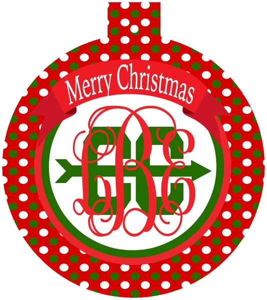 Cross Country Christmas Monogrammed Ornament