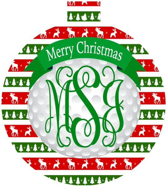 Golf Christmas Monogrammed Ornament