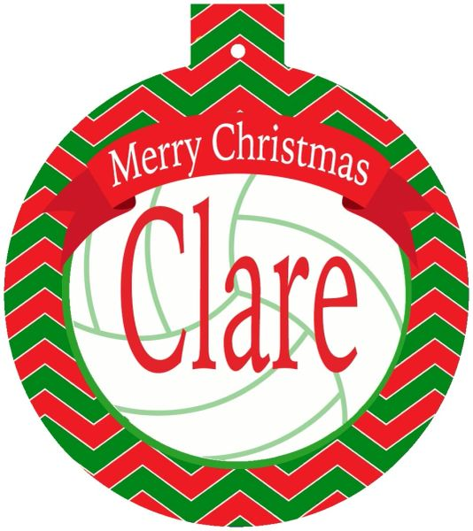Volleyball Christmas Monogrammed Ornament