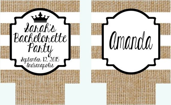 Bachelorette or Birthday Party Burlap Huggers