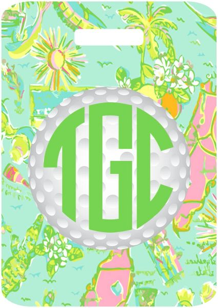 Golf Florida Lilly Monogrammed Bag Tag