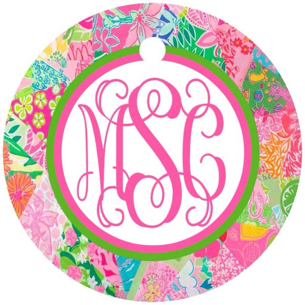 Patchwork Lilly Monogram Keychain