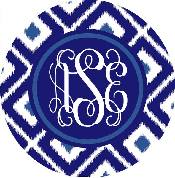 Ikat Navy Monogrammed Luggage Tag