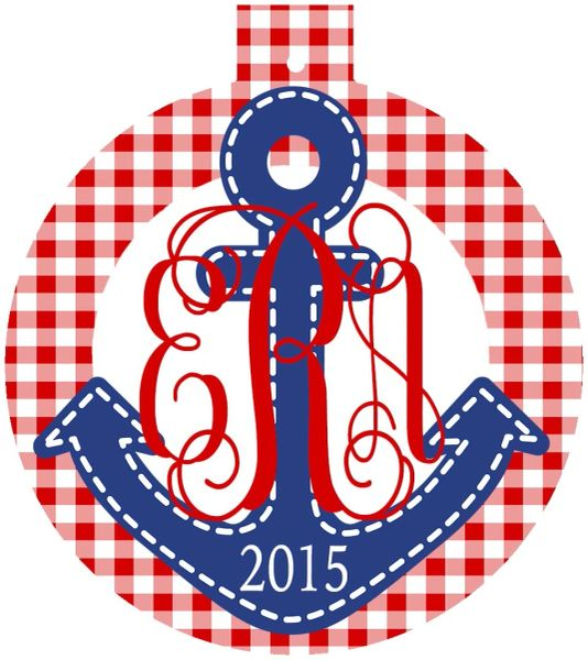 Anchor Christmas Monogrammed Ornament