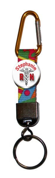 Carabiner Keyring with personalized registered nurse button #CH363CK