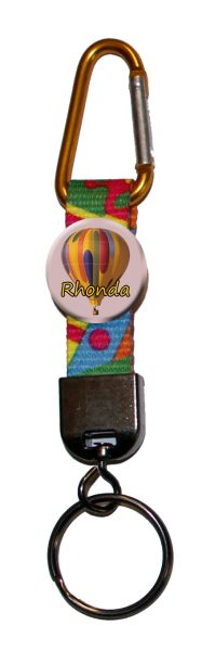 Carabiner Keyring with personalized hot air balloon button