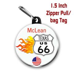 Personalized 1.5 Inch Route 66 Zipper Pull/Bag Tag