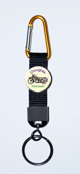 Carabiner Keyring with Personalized Motorcycle button and black polyester webbing strap