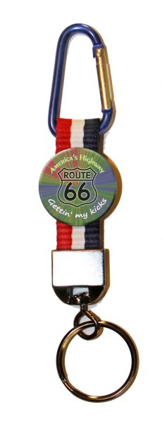 Carabiner Keyring with Colorful Route 66 button and patriotic strap #CH477CK