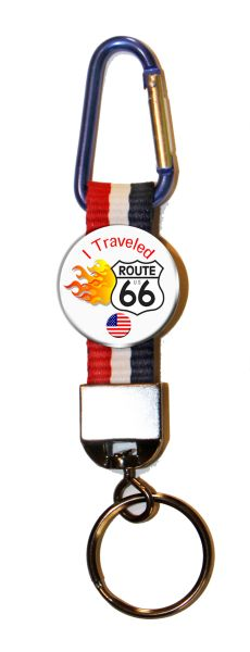 Carabiner Keyring with I traveled Route 66 button and patriotic strap
