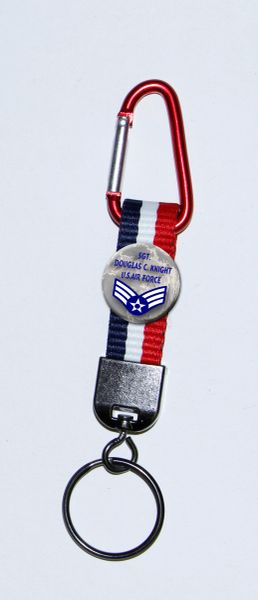 Carabiner Keyring with Personalized Air Force button and patriotic polyester strap