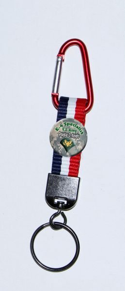 Carabiner Keyring with Personalized Army button and patriotic polyester strap