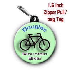 Personalized 1.5 Inch Mountain Biking Zipper Pull/Bag Tag