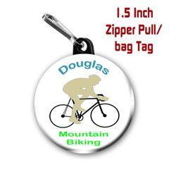Personalized 1.5 Inch Mountain Biking Zipper Pull/Bag Tag