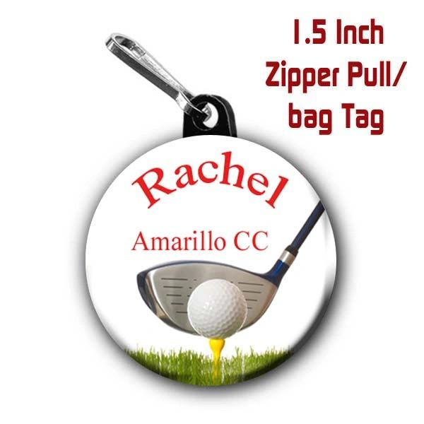 Golf zipper pull, pin, or magnet personalized with name and city/state or club CH483
