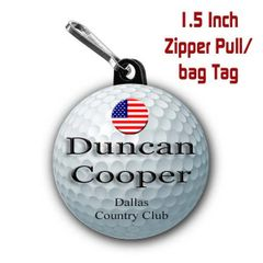 Golf zipper pull, pin, or magnet personalized with name,city/state or club name CH485