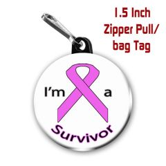 Personalized 1.5 Inch Cancer Survivor Zipper Pull/Bag Tag