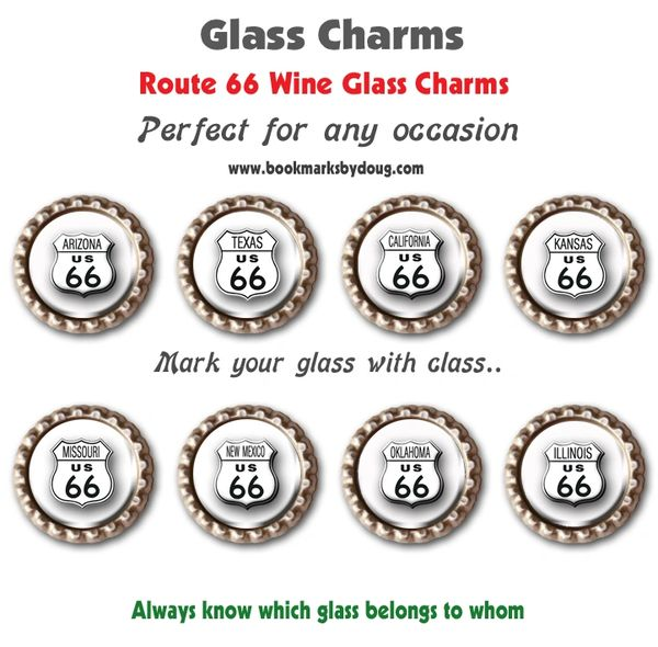 Wine glass charms set of 8 Route 66 charms