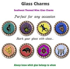 Wine glass charms set of 8 southwest themed charms