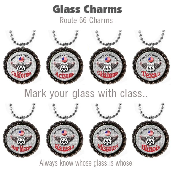 Wine glass charms set of 8 Route 66 themed charms