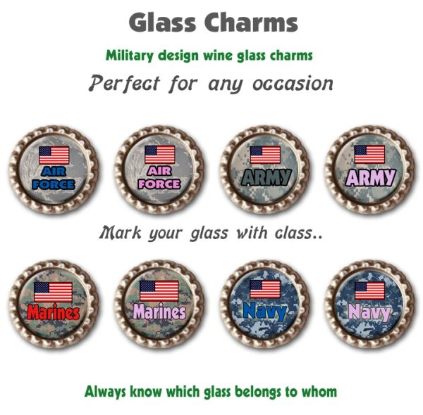Wine glass charms set of 8 Military themed charms