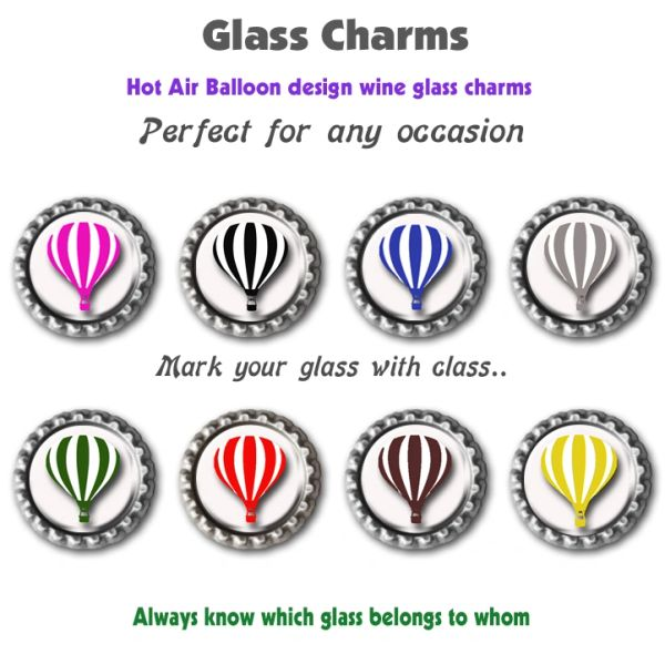 Wine glass charms set of 8 Hot air balloon themed charms