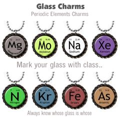 Wine glass charms set of 8 Periodic elements themed charms
