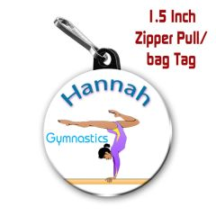 Gymnastics zipper pull, pin, or magnet personalized with name CH476