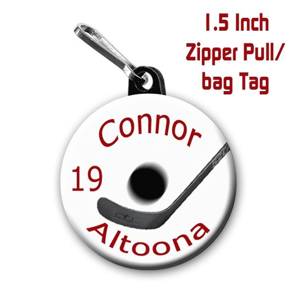 Hockey zipper pull, pin, or magnet with name, number, team, color CH188