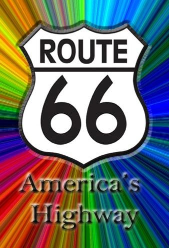 Route 66 fridge magnet, Colorful design