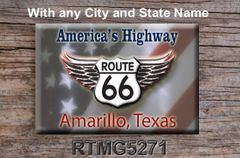 Route 66 fridge magnet with Patriotic Background and City/State name of choice