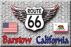 Route 66 fridge magnet personalized with city/state name of choice and state flag