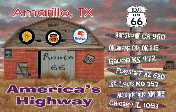 Route 66 fridge magnet, personalized with city/state name of choice and mileage
