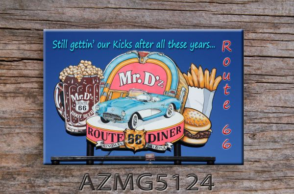 Route 66 fridge magnet featuring Mr. D's in Kingman, AZ