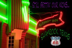 Route 66 fridge magnet featuring U Drop Inn Shamrock, TX