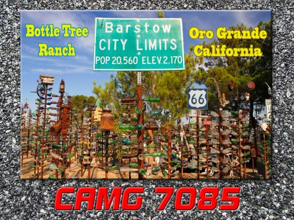Route 66 fridge magnet featuring Bottle Tree Ranch near Oro Grande, CA #CAMG7085