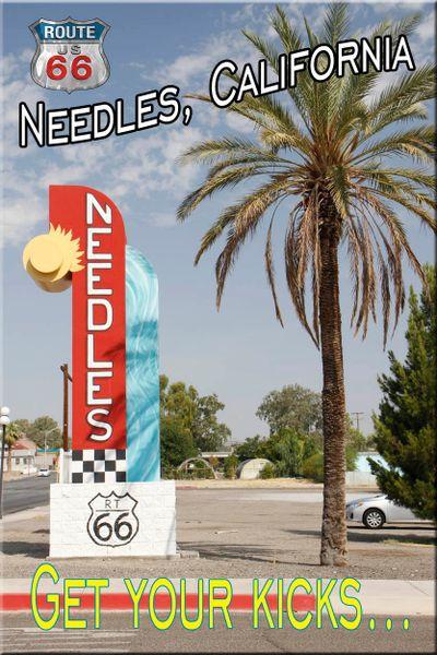 Route 66 fridge magnet featuring Needles, CA