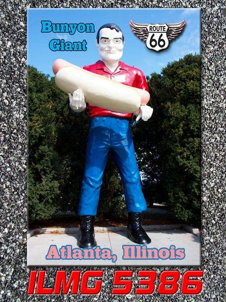 Route 66 fridge magnet featuring Bunyon Giant in Atlanta, IL