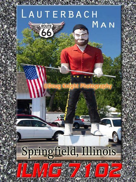 Route 66 fridge magnet featuring Lauterbach Man in Springfield, IL