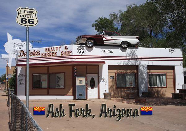 Route 66 fridge magnet featuring Ash Fork, AZ