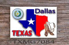 Texas Fridge Magnet with Texas shape personalized with city of choice