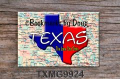 Texas Fridge Magnet with Texas outline over road map
