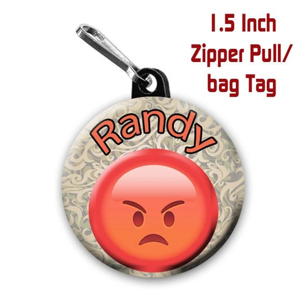 Personalized 1.5 Inch Angry Emoji Zipper Pull/Bag Tag with Name #CH539LGZP