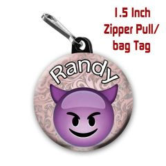 Personalized 1.5 Inch evil Emoji Zipper Pull/Bag Tag with Name