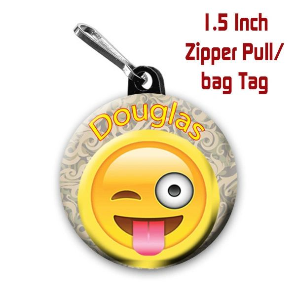 Personalized 1.5 Inch Winking with Tongue Emoji Zipper Pull/Bag Tag with Name #CH537LGZP