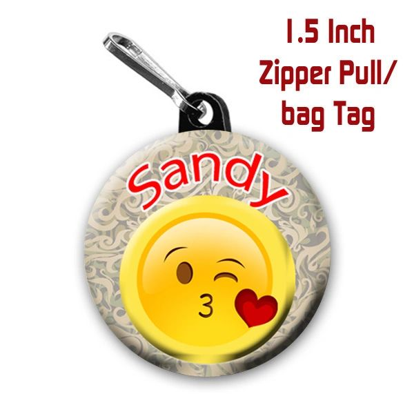 Personalized 1.5 Inch Blowing Kiss Emoji Zipper Pull/Bag Tag with Name