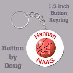 Basketball keyring personalized with name, number, team name and color CH191KR