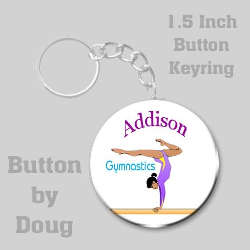 1.5 Inch Round Keyring with Personalized Gymnastics Graphics #CH467KR