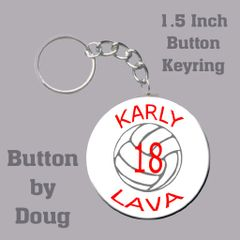 Keyring with Personalized Volleyball Graphics