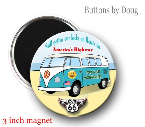 Route 66 Personalized Fridge Magnet 3 Inch Diameter#CH553XLMG